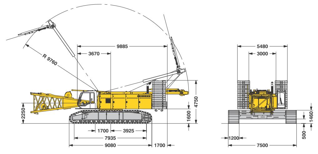 Габаритные размеры гусеничного крана Liebherr LR 1280 - stroyone.com