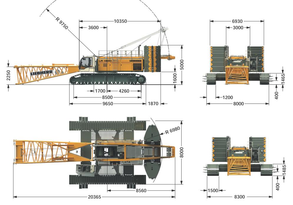 Габаритные размеры гусеничного крана Liebherr LR 1300 SX - stroyone.com