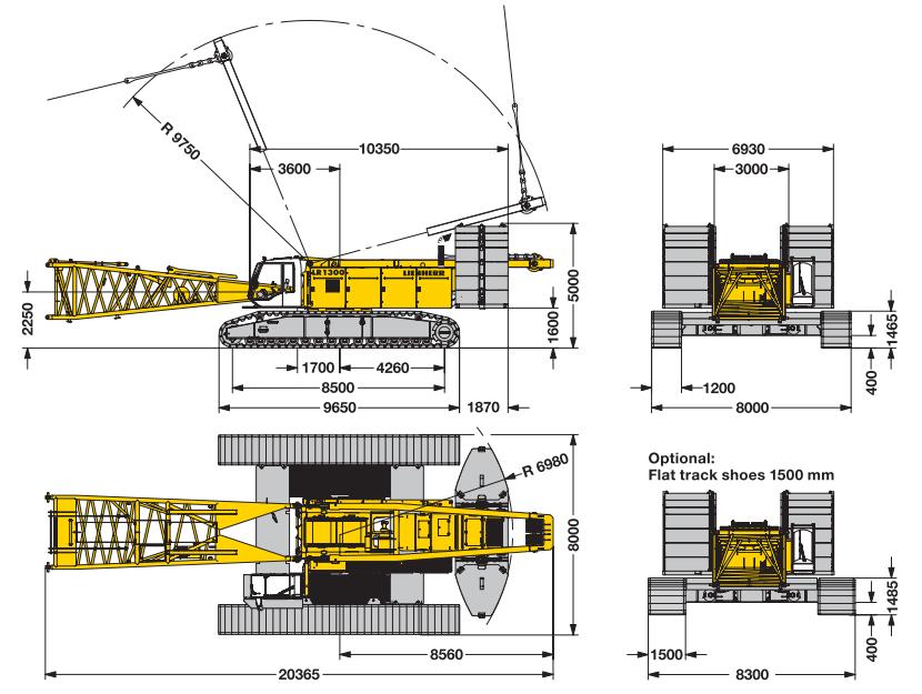 Габаритные размеры гусеничного крана Liebherr LR 1300 - stroyone.com