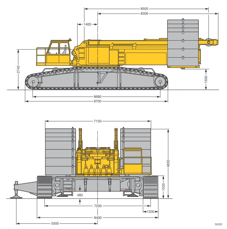 Габаритные размеры гусеничного крана Liebherr LR 1350-1 - stroyone.com