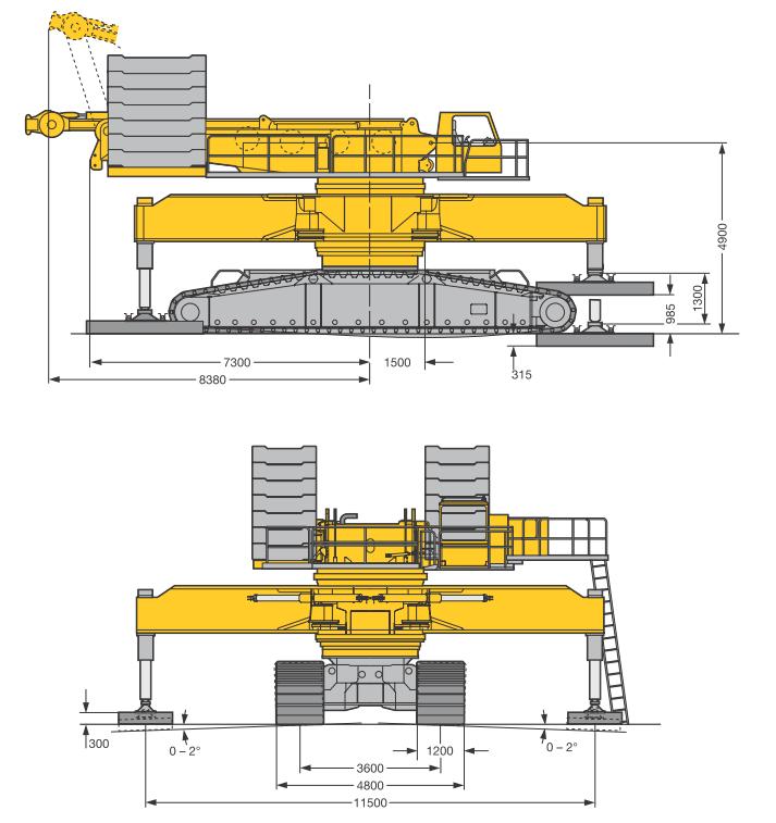 Габаритные размеры гусеничного крана Liebherr LR 1400-2-W - stroyone.com