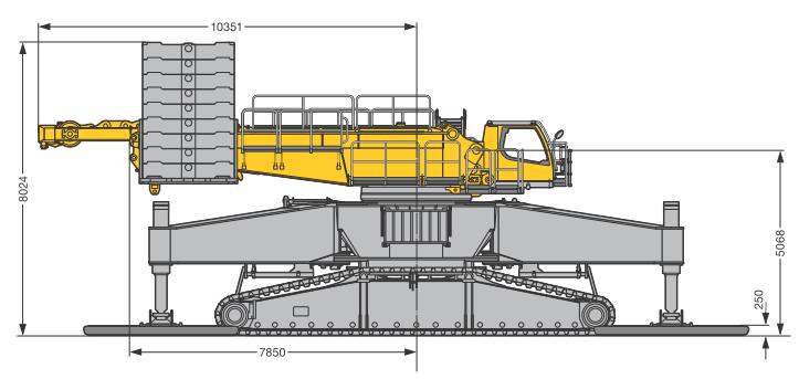 Габаритные размеры гусеничного крана Liebherr LR 1600-2-W - stroyone.com