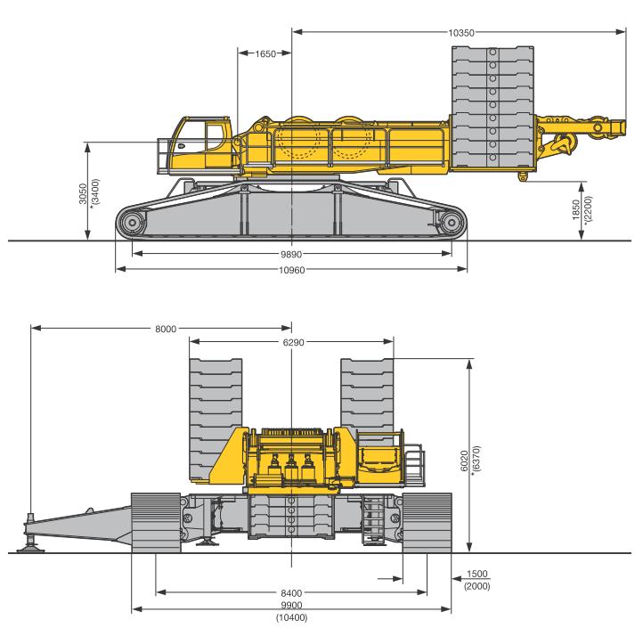 Габаритные размеры гусеничного крана Liebherr LR 1600-2 - stroyone.com