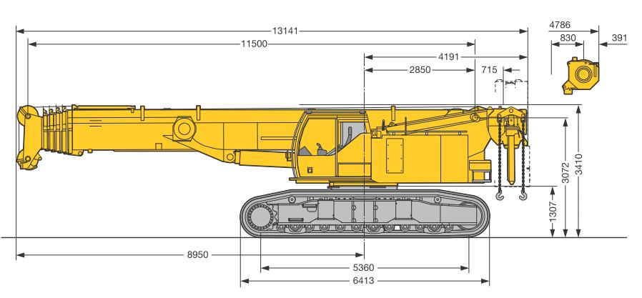 Габаритные размеры гусеничного крана Liebherr LTR 1100 - stroyone.com