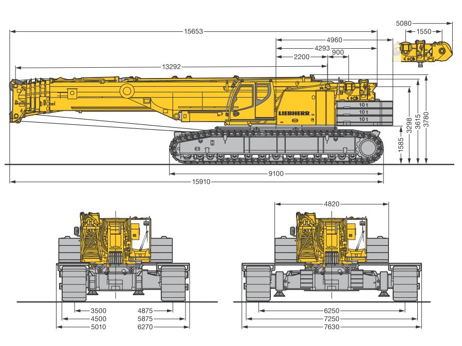 Габаритные размеры гусеничного крана Liebherr LTR 1220 - stroyone.com