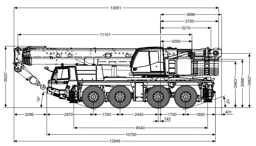 Габаритные размеры крана Tadano ATF 100G-4