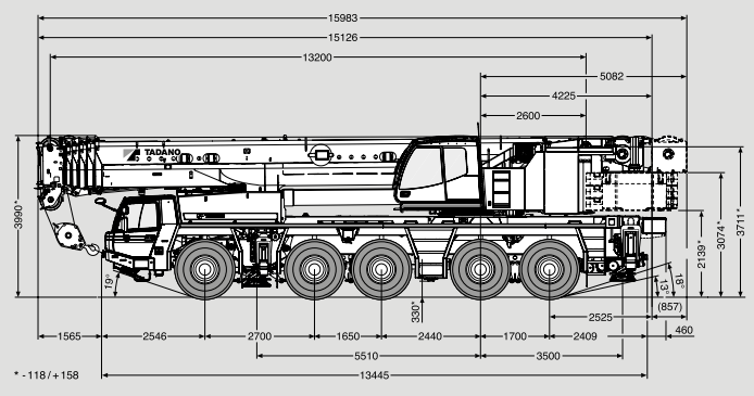 Габаритные размеры крана Tadano ATF 180G-5 Tadano ATF 180G-5 - stroyone.com