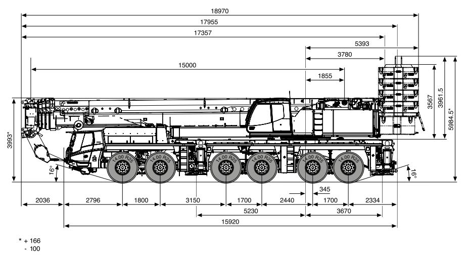 Габаритные размеры крана Tadano ATF 400G-6 Tadano ATF 400G-6 - stroyone.com