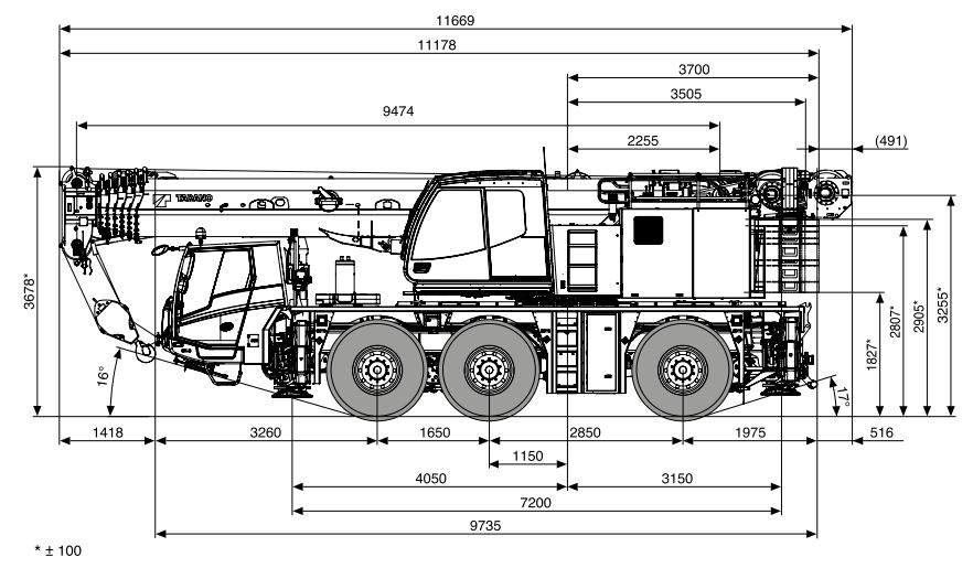 Габаритные размеры крана Tadano ATF 60G-3 Tadano ATF 60G-3 - stroyone.com