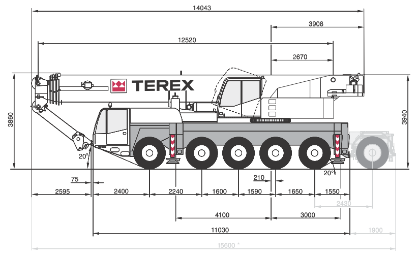 Габаритные размеры крана Terex AC100