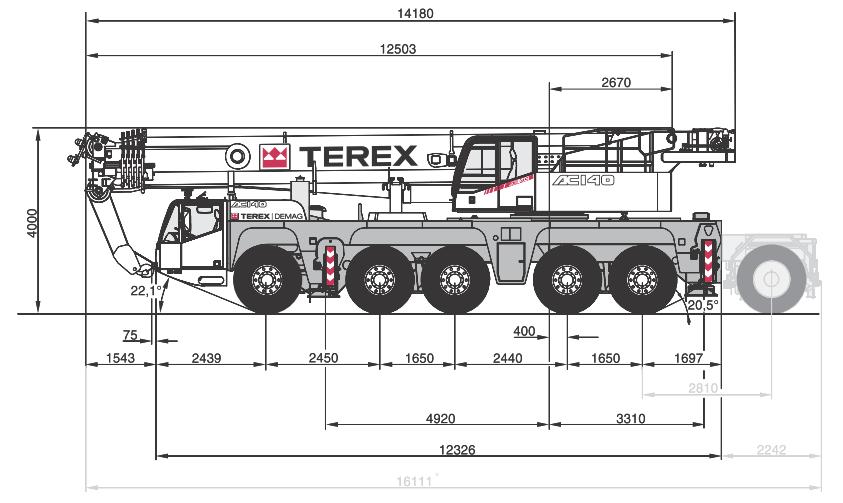 Габаритные размеры крана Terex AC140