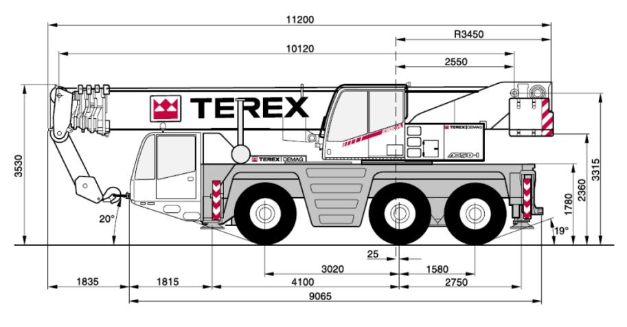 Габаритные размеры крана Terex AC50-1