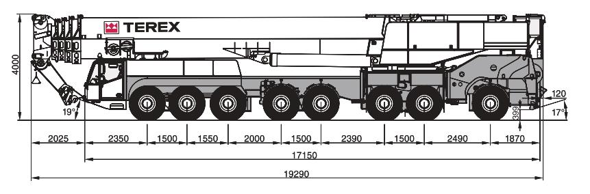 Габаритные размеры крана Terex AC500-2