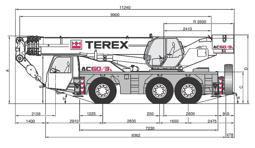 Габаритные размеры крана Terex AC60-3L