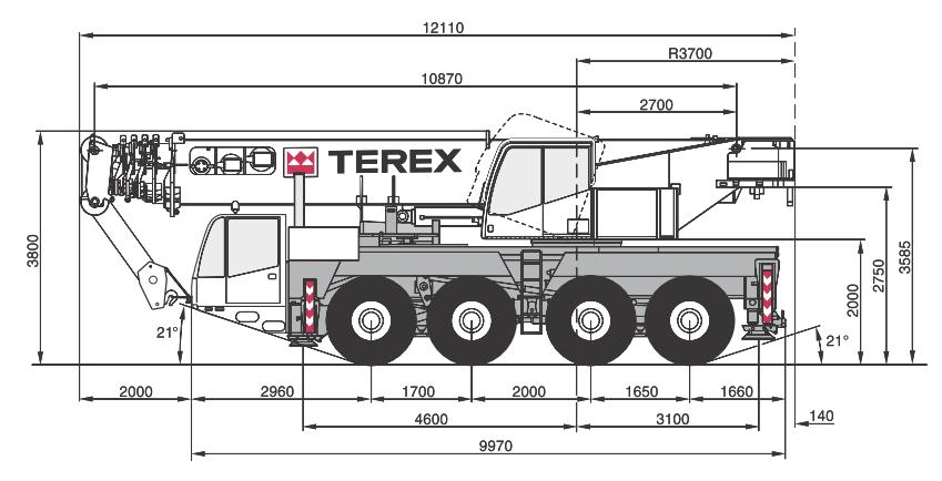 Габаритные размеры крана Terex AC80-2