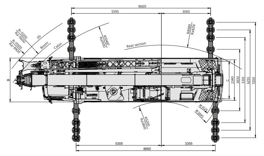 Размеры автокрана Grove GMK4090 - stroyone.com
