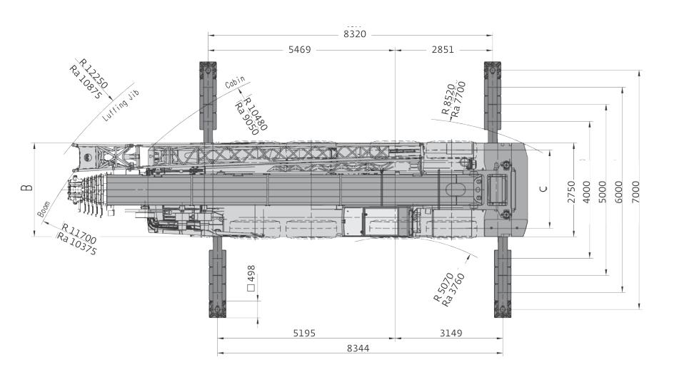 Размеры автокрана Grove GMK4100L - stroyone.com