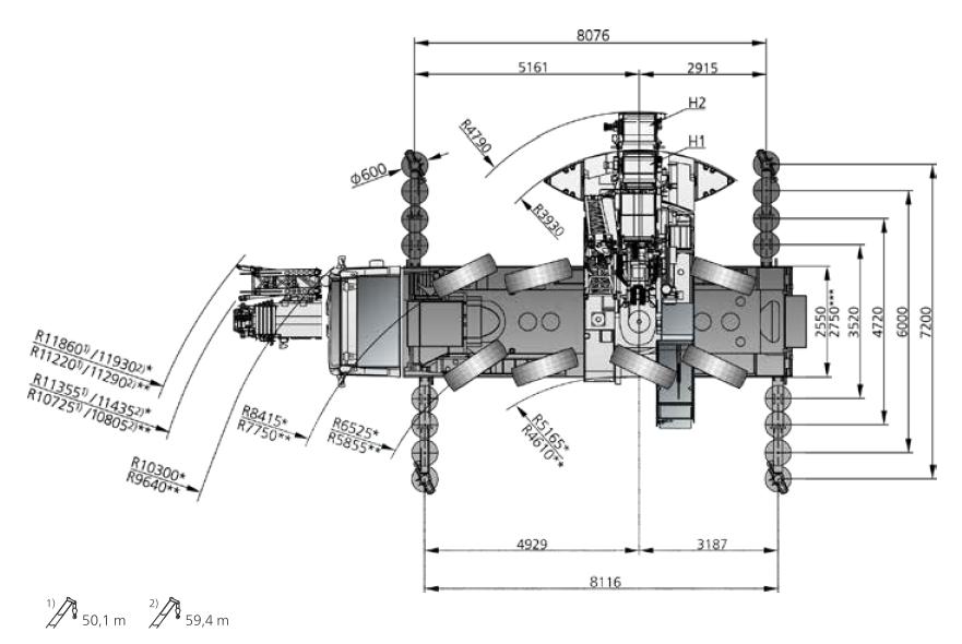 Размеры в плане автокрана DEMAG AC 100-4 - stroyone.com