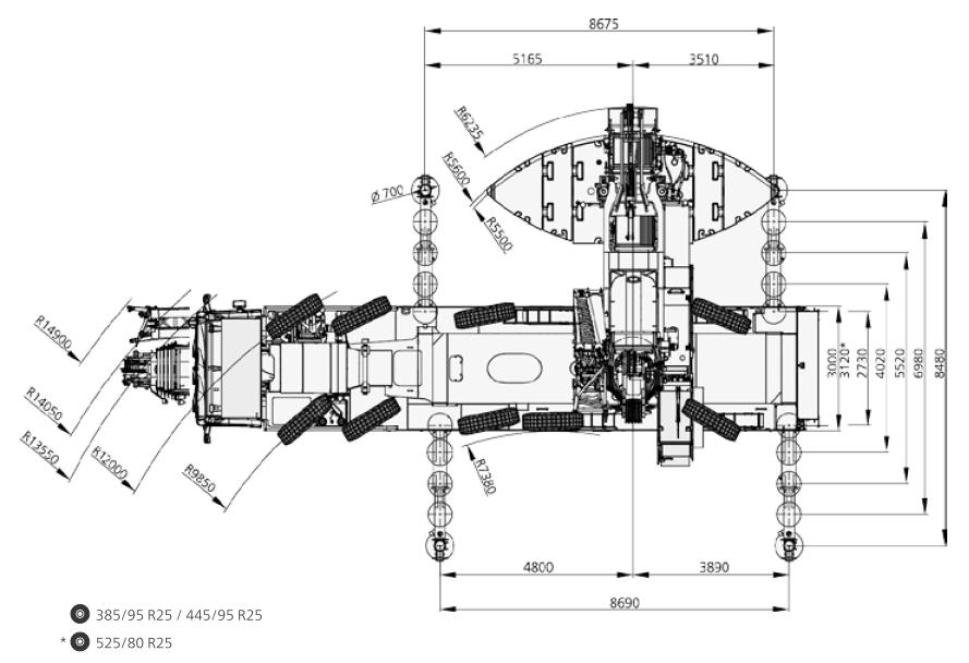 Размеры в плане автокрана DEMAG AC 300-6 - stroyone.com