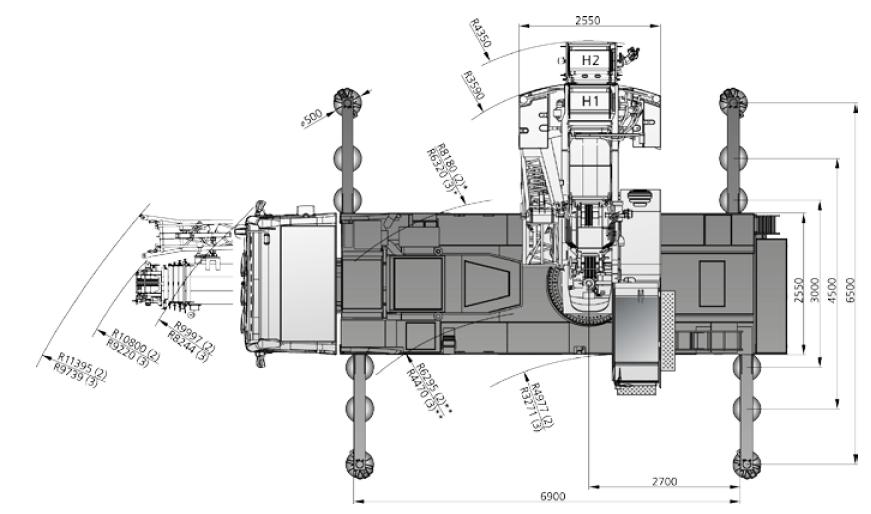 Размеры в плане автокрана DEMAG AC 60-3 - stroyone.com