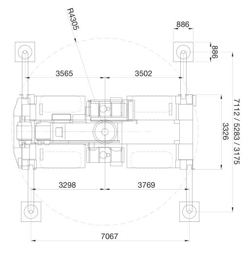 Размеры в плане автокрана Grove RT765E-2 - stroyone.com