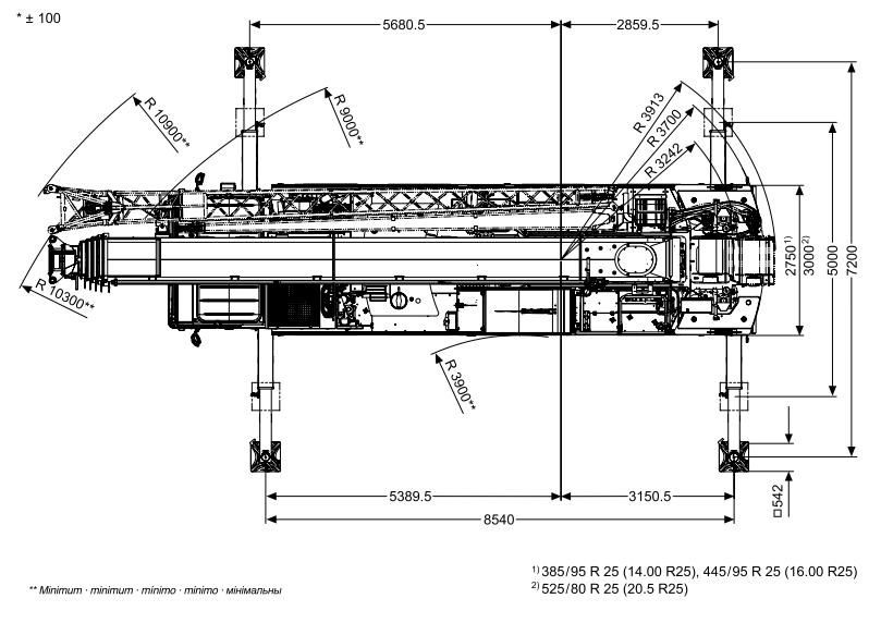 Размеры в плане автокрана Tadano ATF 100G-4 - stroyone.com