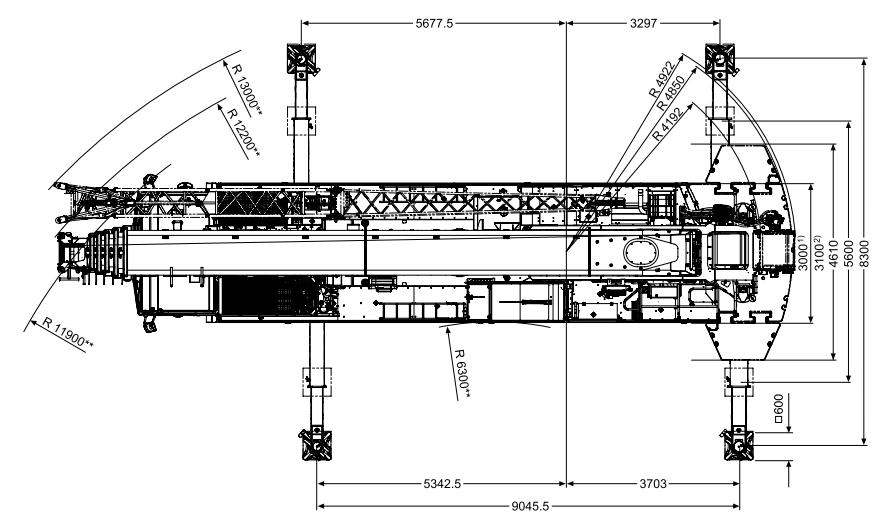 Размеры в плане автокрана Tadano ATF 200G-5 - stroyone.com