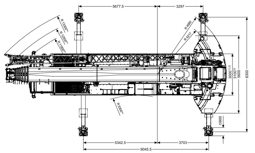 Размеры в плане автокрана Tadano ATF 220G-5 - stroyone.com