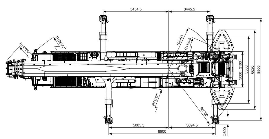 Размеры в плане автокрана Tadano ATF 400G-6 - stroyone.com