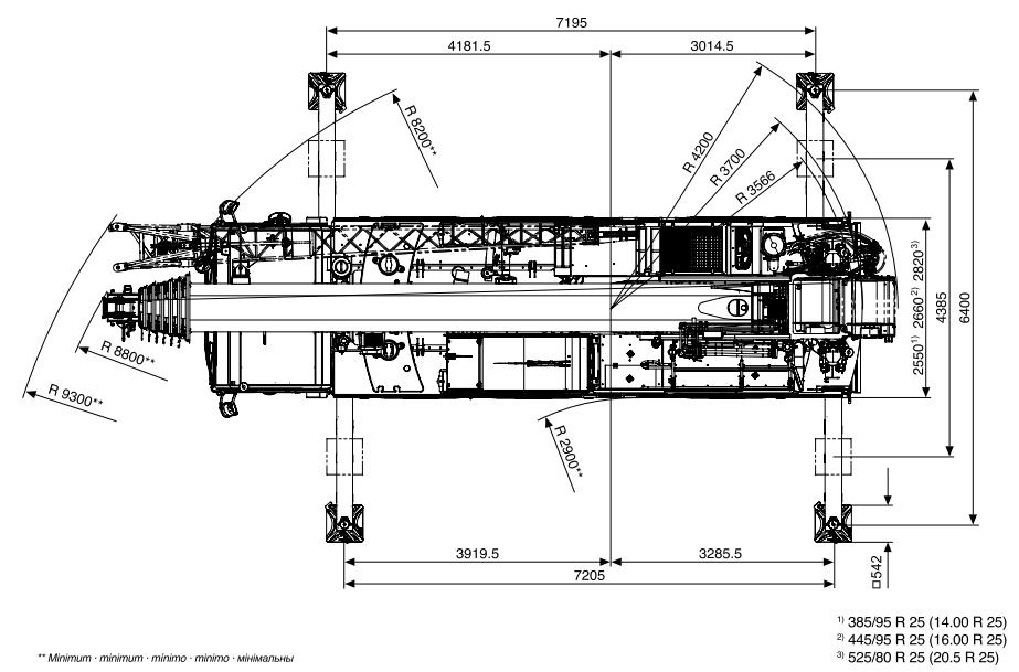 Размеры в плане автокрана Tadano ATF 60G-3 - stroyone.com