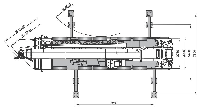 Размеры в плане автокрана Terex AC140 - stroyone.com