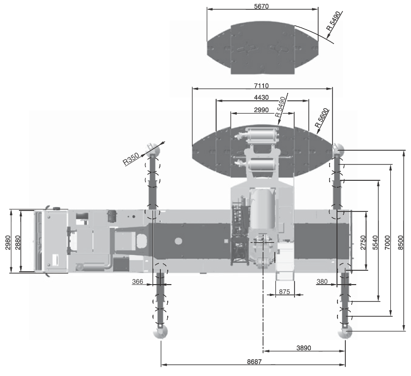 Размеры в плане автокрана Terex AC250-1 - stroyone.com