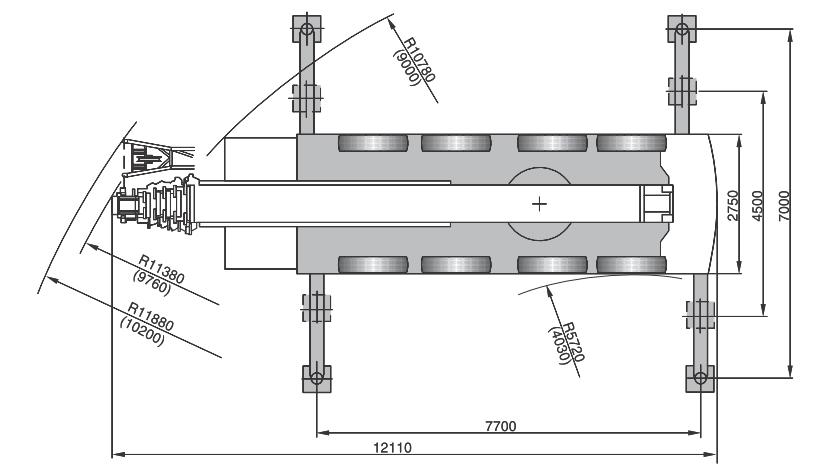 Размеры в плане автокрана Terex AC80-2 - stroyone.com