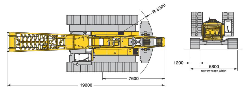 Размеры в плане гусеничного крана Liebherr LR 1200 SX - stroyone.com