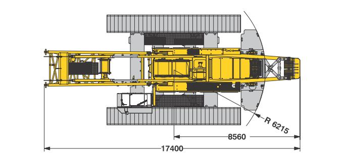 Размеры в плане гусеничного крана Liebherr LR 1280 - stroyone.com