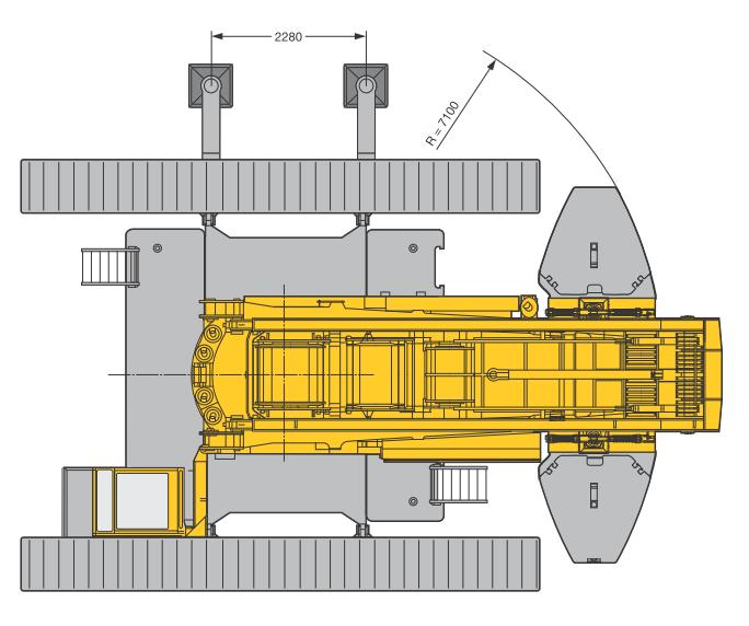 Размеры в плане гусеничного крана Liebherr LR 1350-1 - stroyone.com