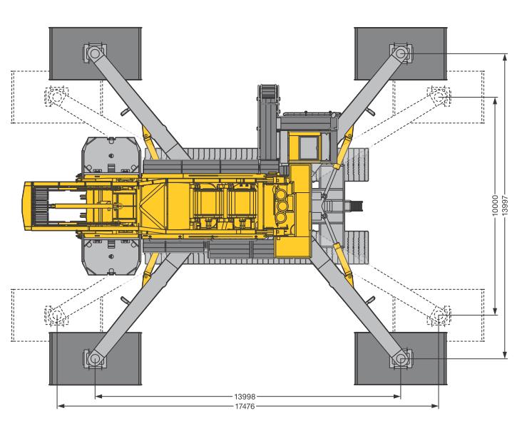 Размеры в плане гусеничного крана Liebherr LR 1600-2-W - stroyone.com