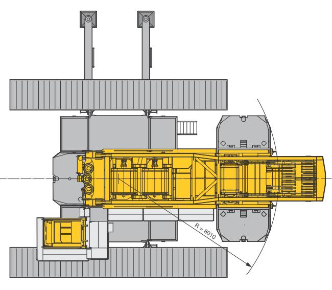 Размеры в плане гусеничного крана Liebherr LR 1600-2 - stroyone.com