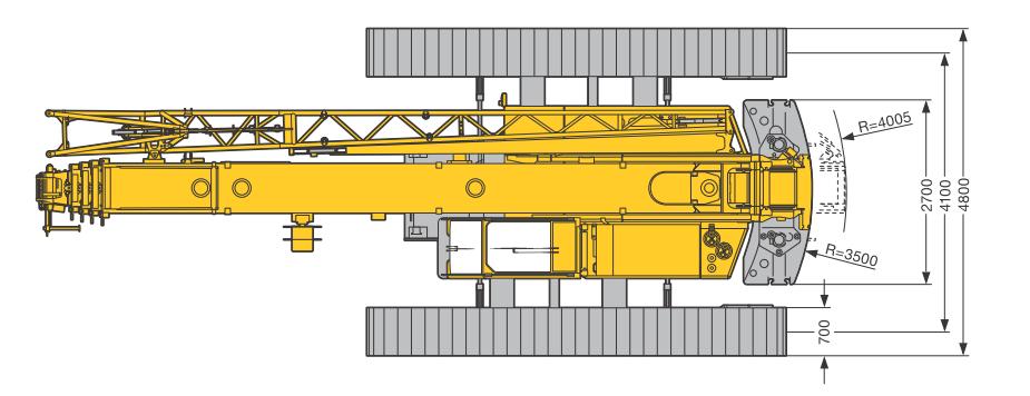Размеры в плане гусеничного крана Liebherr LTR 1060 - stroyone.com