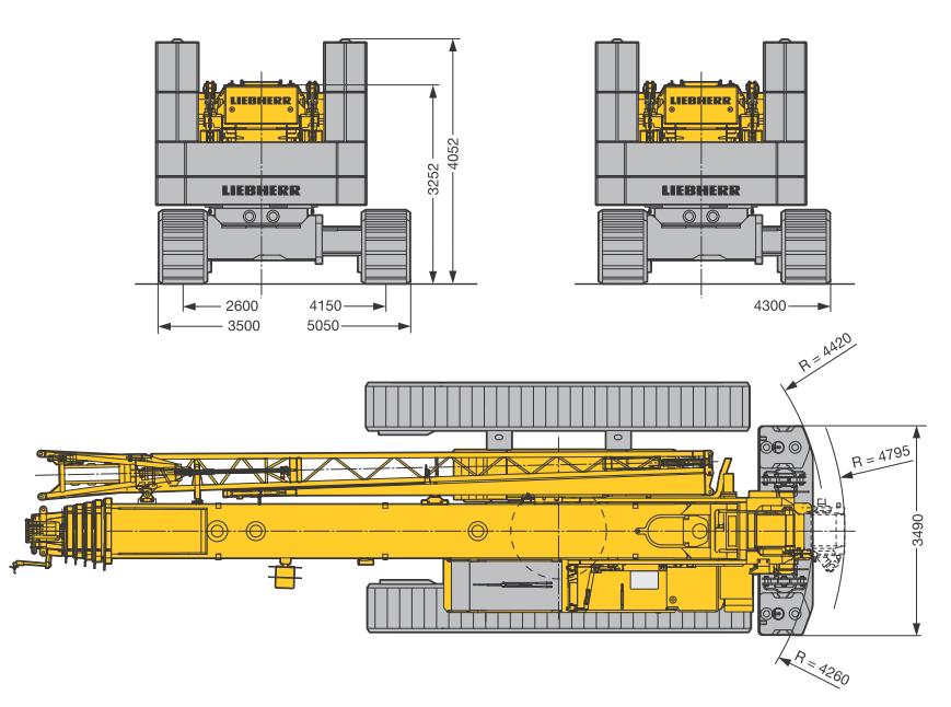 Размеры в плане гусеничного крана Liebherr LTR 1100 - stroyone.com