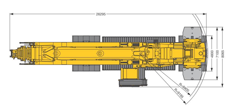 Размеры в плане гусеничного крана Liebherr LTR 11200 - stroyone.com