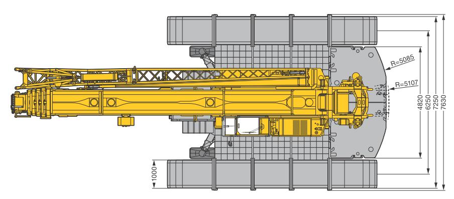 Размеры в плане гусеничного крана Liebherr LTR 1220 - stroyone.com