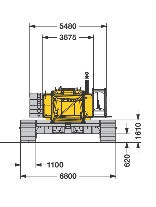 Размеры гусеничного крана Liebherr HS 895 HD - stroyone.com