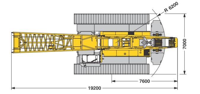 Размеры гусеничного крана Liebherr LR 1200 - stroyone.com