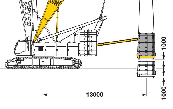 Размеры гусеничного крана Liebherr LR 1300 (derrick equipment )- stroyone.com