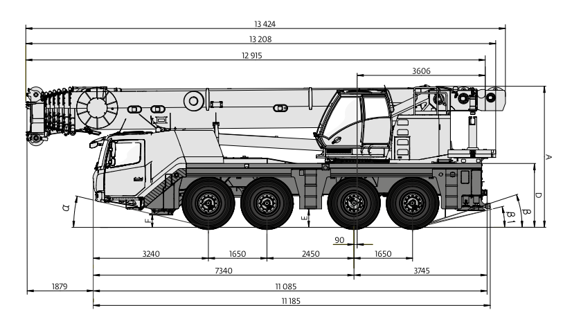 Габаритные размеры автокрана Grove GMK4100L-1 - stroyone.com