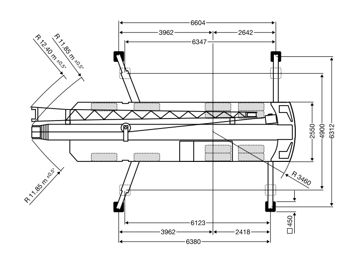 Размеры в плане автокрана Tadano HK 40 - stroyone.com