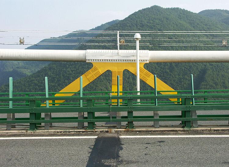 Стыковка фермы с канатами висячего моста Sidu River Bridge
